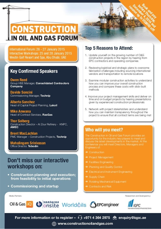 Construction Oil and Gas Forum Jan 2015 Abu Dhabi Brochure