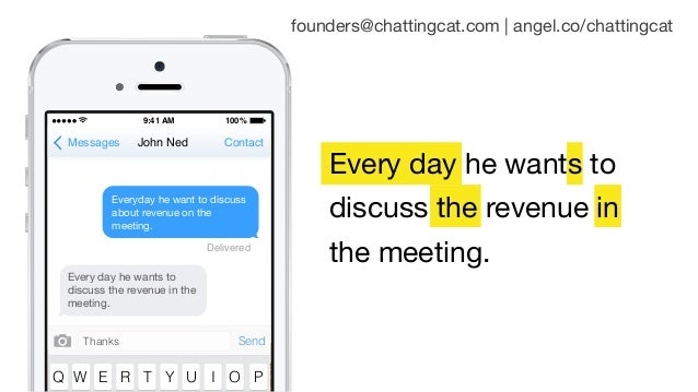 Every day he wants to discuss the revenue in the meeting. 9:41 AM 100% Messages ContactJohn Ned Q W E R T Y U I O P Thanks...