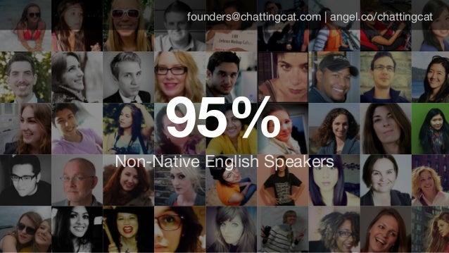 founders@chattingcat.com | angel.co/chattingcat 95% Non-Native English Speakers