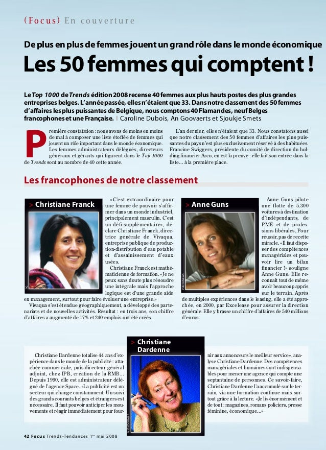 42 Focus Trends-Tendances 1er mai 2008 ( Fo c u s ) E n c o u v e r t u r e «C'est extraordinaire pour une femme de pouvoi...