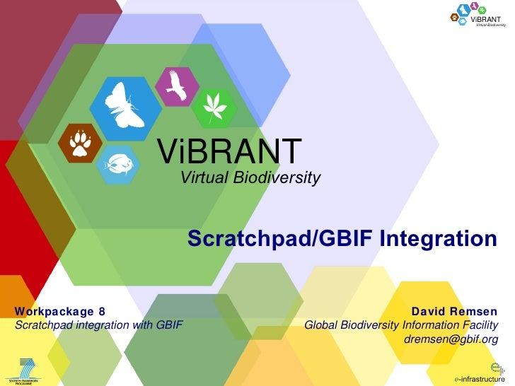 Scratchpad/GBIF Integration David Remsen Global Biodiversity Information Facility [email_address] Workpackage 8 Scratchpad...