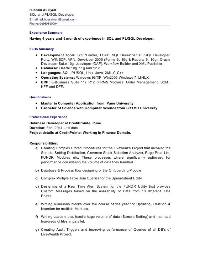 sql developer resume 2 pl sql sample resumes resume cv cover letter