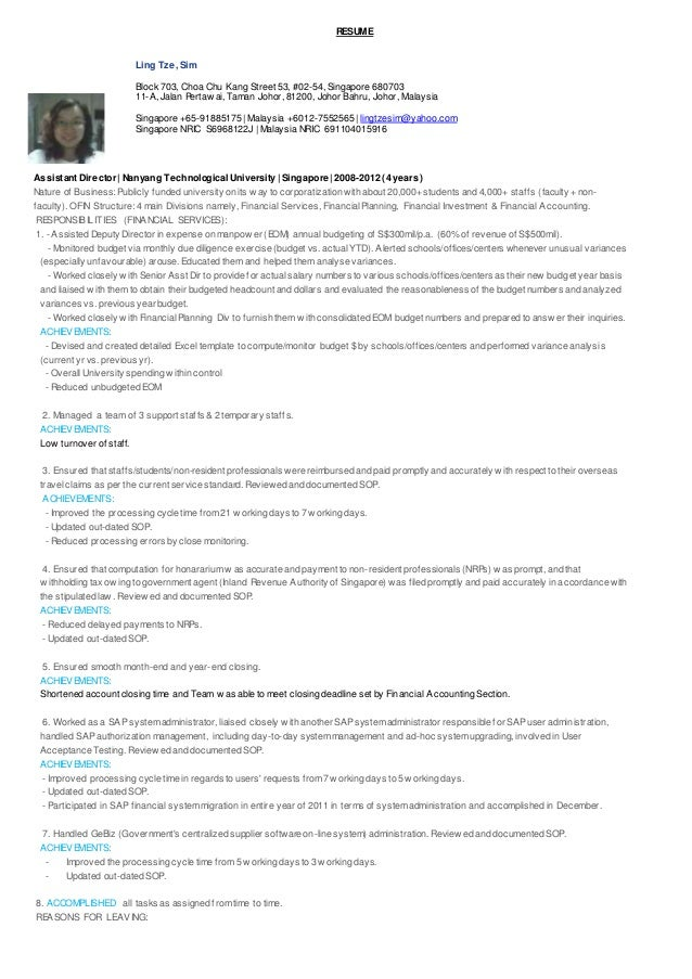 Ling Tze Sim-Resume with Achievements in Finance Accounting Admin Sal…