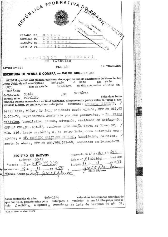 ESTADO DE COMARCA DE  MUNICÍPlO DE DlSTRlTO DE  LIVRO N?  121 FLS.  139 : LB TRASLADO     ESCRITURA DE VENDA E COMPRA - VA...
