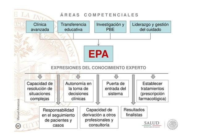 EPA EXPRESIONES DEL CONOCIMIENTO EXPERTO Transferencia educativa Investigación y PBE Liderazgo y gestión del cuidado Á R E...