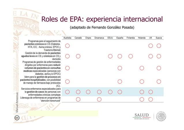 Roles de EPA: experiencia internacional (adaptado de Fernando González Posada) ManuelAmezcua