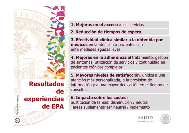 2. Reducción de tiempos de espera 1. Mejoras en el acceso a los servicios 3. Efectividad clínica similar a la obtenida por...