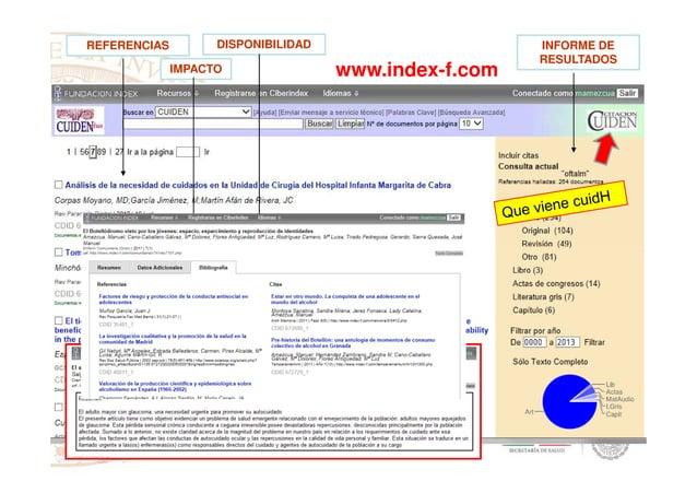 INFORME DE RESULTADOS REFERENCIAS IMPACTO DISPONIBILIDAD www.index-f.com
