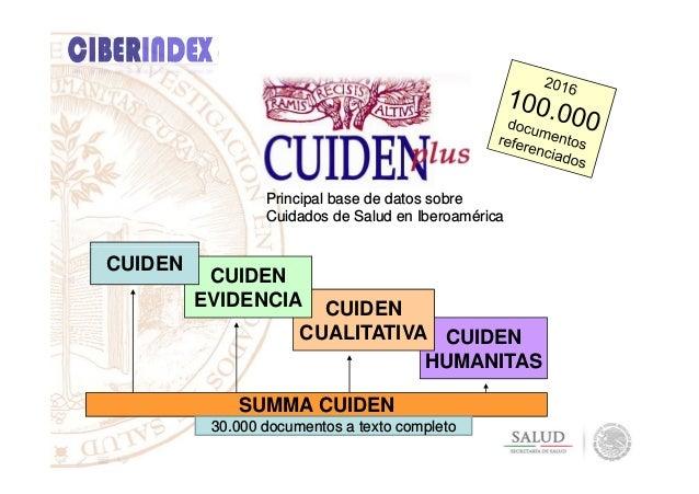 Principal base de datos sobre Cuidados de Salud en Iberoamérica CUIDEN HUMANITAS CUIDEN CUALITATIVA CUIDEN EVIDENCIA CUIDE...