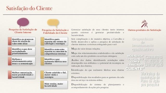 Pesquisa da Satisfação do Cliente Interno Identifica os processos chave de criação de valor entre áreas Identifica o que d...