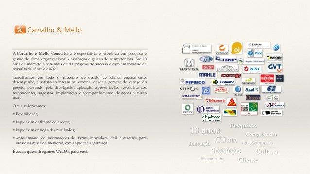 A Carvalho e Mello Consultoria é especialista e referência em pesquisa e gestão de clima organizacional e avaliação e gest...