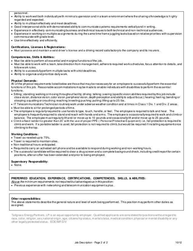 Job Description Telecommunications Technician Defence Jobs
