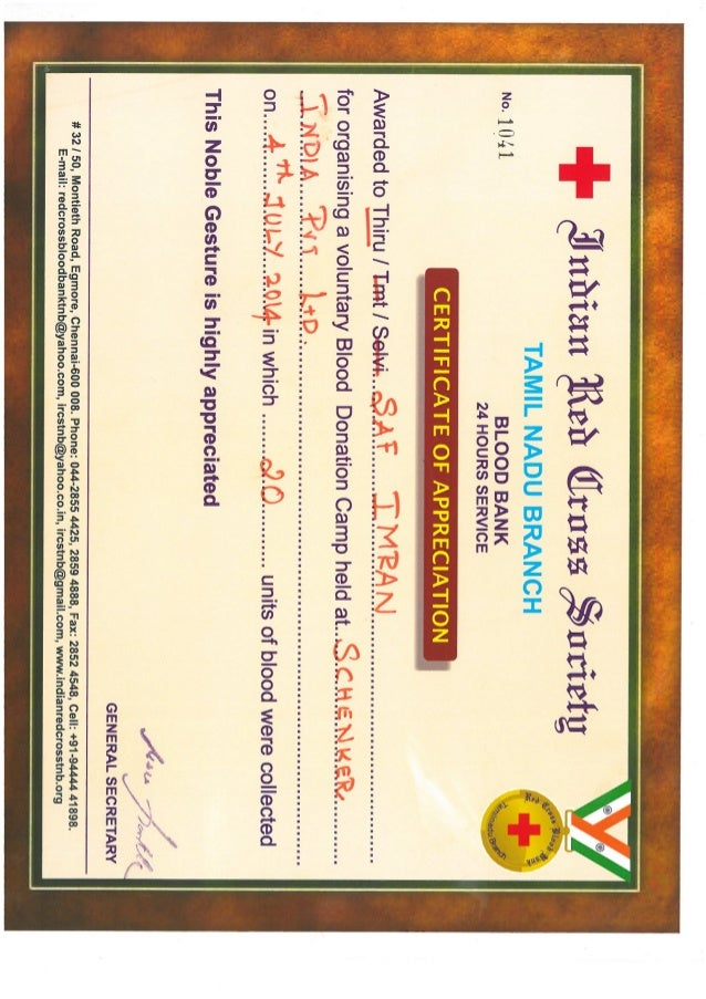 Imran Saf Blood Donation Volunteer Certificate 04 Jul 14