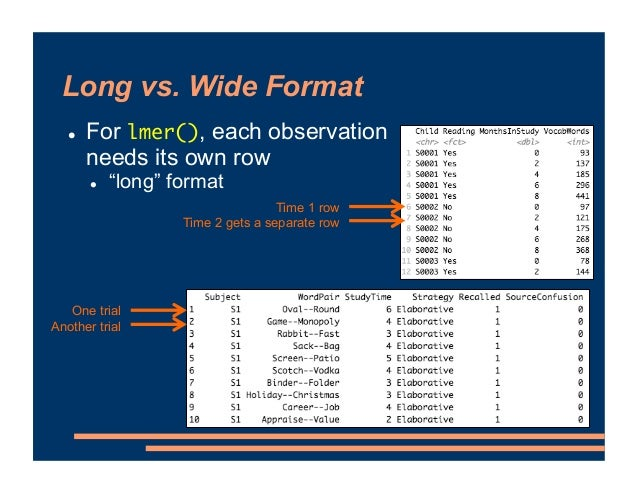 """Long vs. Wide Format ! For lmer(), each observation needs its own row ! """"long"""" format Time 1 row Time 2 gets a separate ro..."""