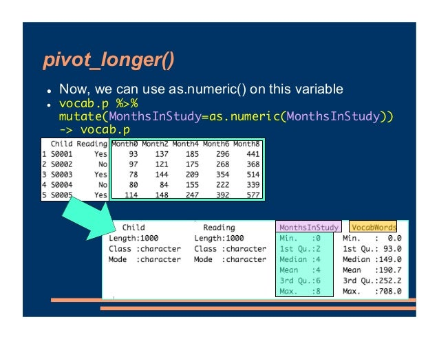 pivot_longer() ! Now, we can use as.numeric() on this variable ! vocab.p %>% mutate(MonthsInStudy=as.numeric(MonthsInStudy...