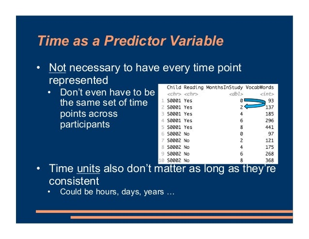 Time as a Predictor Variable • Not necessary to have every time point represented • Don't even have to be the same set of ...