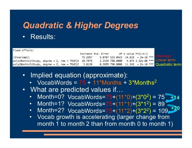Quadratic & Higher Degrees • Results: • Implied equation (approximate): • VocabWords = 75 + 11*Months + 3*Months2 • What a...