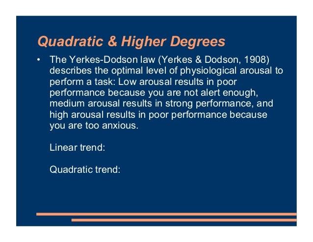 Quadratic & Higher Degrees • The Yerkes-Dodson law (Yerkes & Dodson, 1908) describes the optimal level of physiological ar...