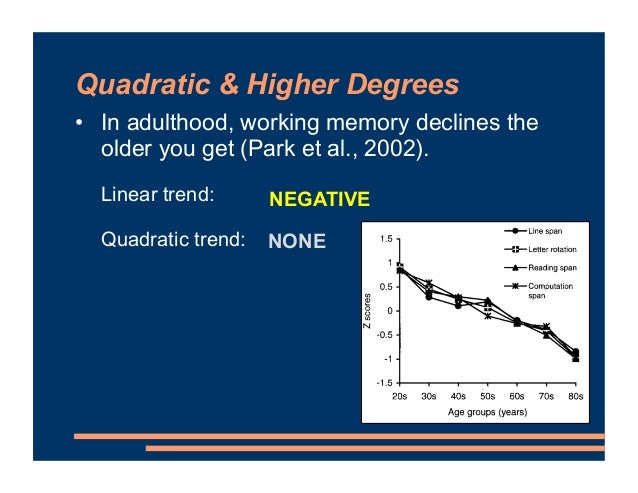 Quadratic & Higher Degrees • In adulthood, working memory declines the older you get (Park et al., 2002). Linear trend: Qu...