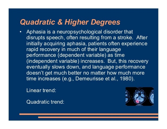 Quadratic & Higher Degrees • Aphasia is a neuropsychological disorder that disrupts speech, often resulting from a stroke....