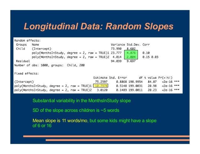 Longitudinal Data: Random Slopes Substantial variability in the MonthsInStudy slope SD of the slope across children is ~5 ...
