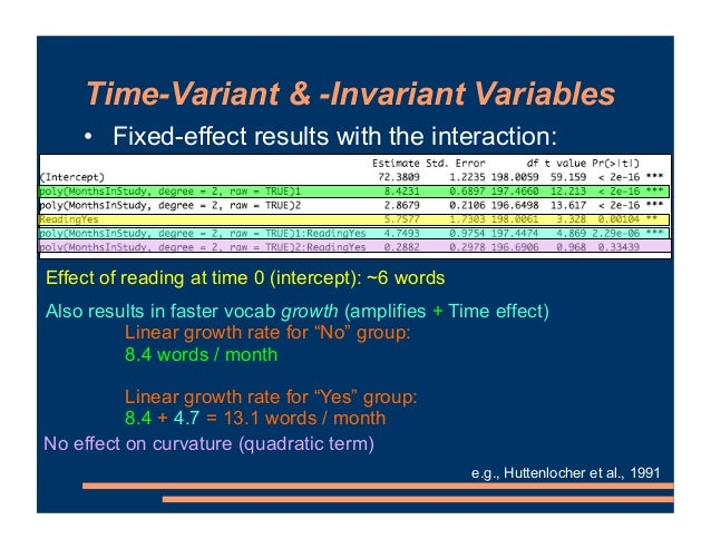 Time-Variant & -Invariant Variables • Fixed-effect results with the interaction: e.g., Huttenlocher et al., 1991 Also resu...