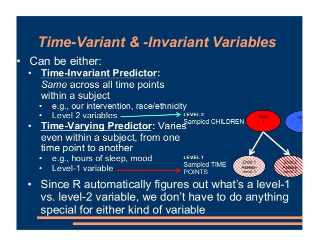 Time-Variant & -Invariant Variables • Can be either: • Time-Invariant Predictor: Same across all time points within a subj...
