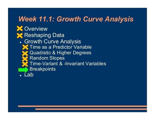 Week 11.1: Growth Curve Analysis ! Overview ! Reshaping Data ! Growth Curve Analysis ! Time as a Predictor Variable ! Quad...