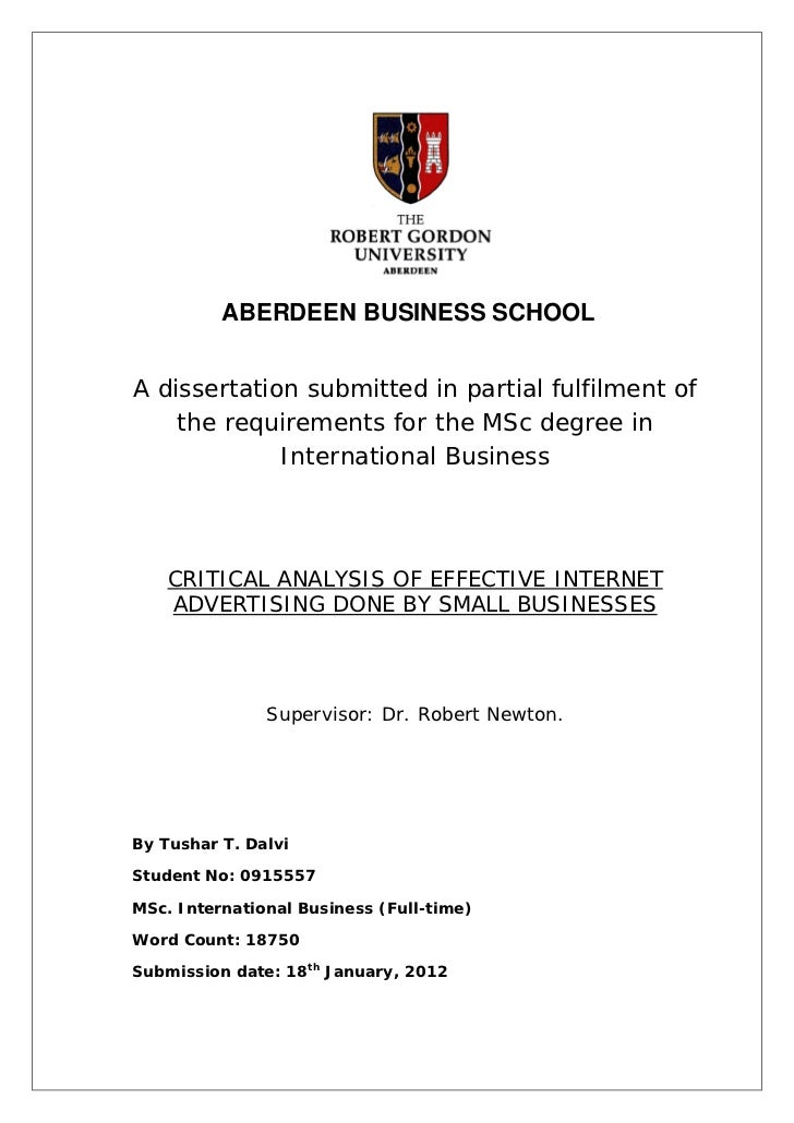 ABERDEEN BUSINESS SCHOOLA dissertation submitted in partial fulfilment of    the requirements for the MSc degree in       ...