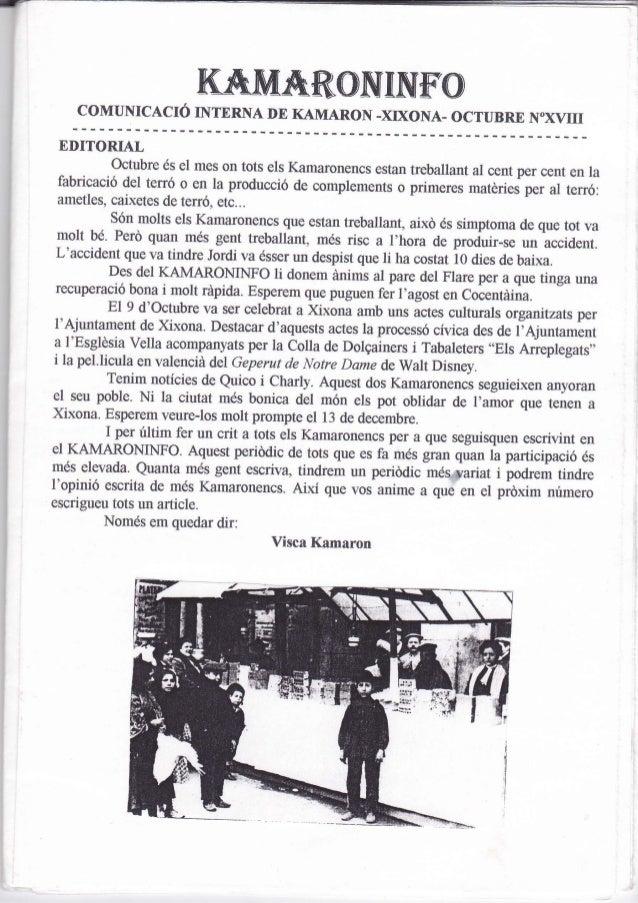 """KEXüÁRCINTNf""""O    COMUNICACTÓ NVTNNXE IE KAMARON -XD(ONA. OCTUBRE                                                     N""""XV..."""