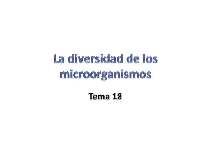 La diversidad de los microorganismos<br />Tema 18<br />