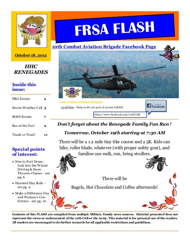 FRSA FLASH                           10th Combat Aviation Brigade Facebook Page October 18, 2012    HHC RENEGADESInside th...