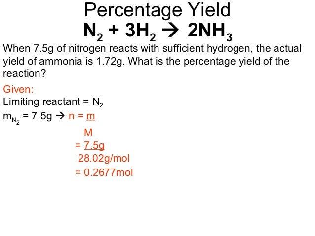 18 percentage yield