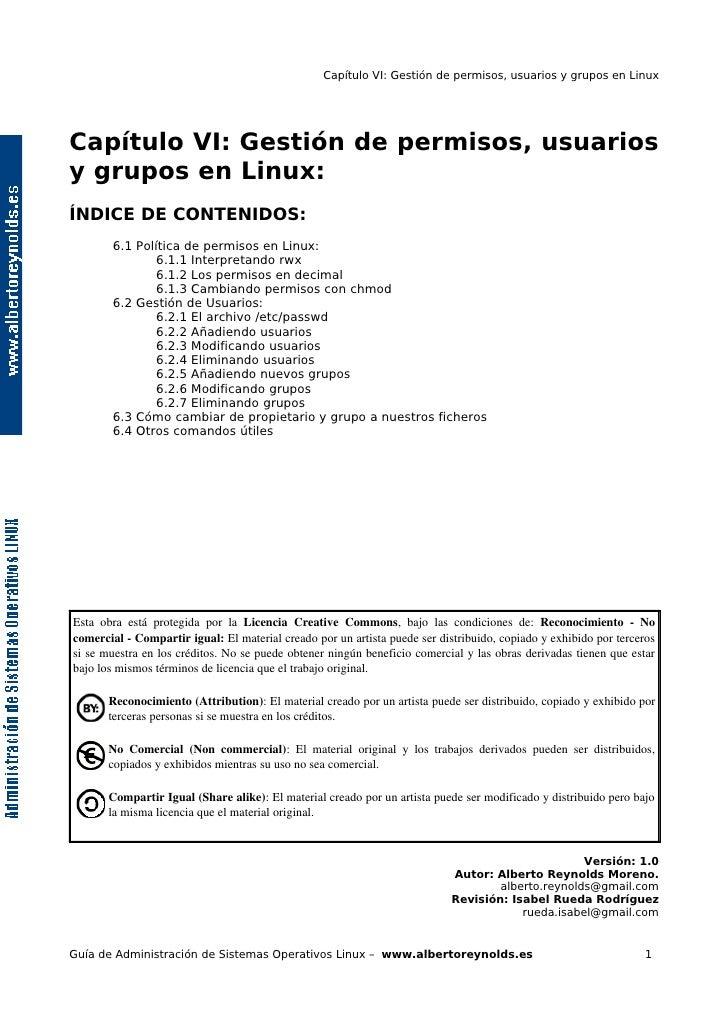 Capítulo VI: Gestión de permisos, usuarios y grupos en Linux     Capítulo VI: Gestión de permisos, usuarios y grupos en Li...