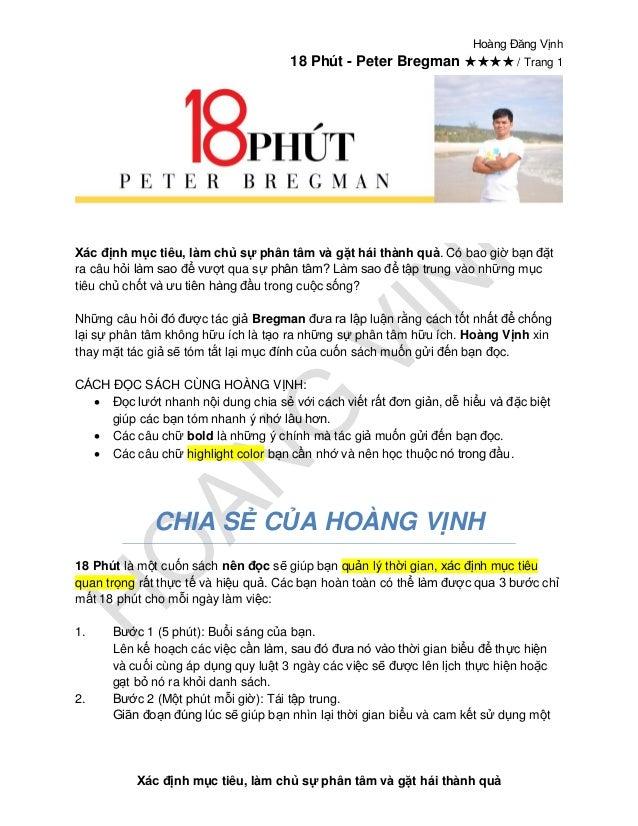 Hoàng Đăng Vịnh 18 Phút - Peter Bregman ★★★★ / Trang 1 Xác định mục tiêu, làm chủ sự phân tâm và gặt hái thành quả Xác địn...