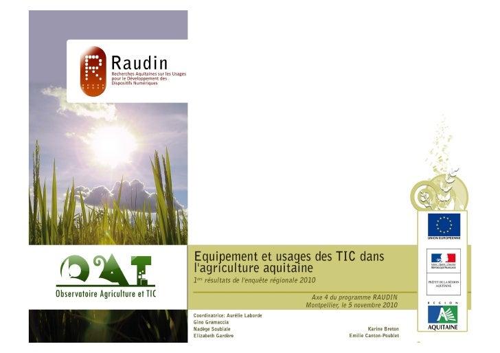 Equipement et usages des TIC dans l'agriculture aquitaine