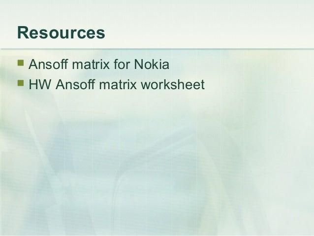Resources Ansoff matrix for Nokia HW Ansoff matrix worksheet