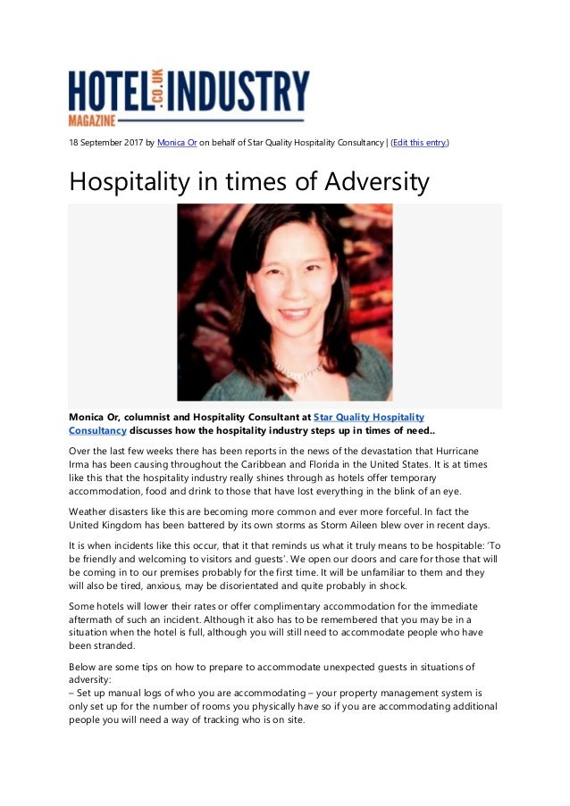 Hospitality in times of Adversity - Hotel Industry Article