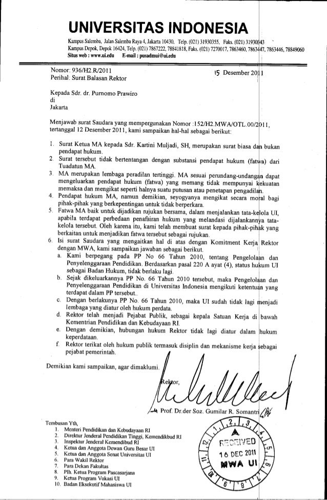 18 Surat Balasan Rektor Dr Rektor