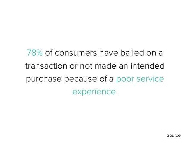 78% of consumers have bailed on a transaction or not made an intended purchase because of a poor service experience.  Sour...