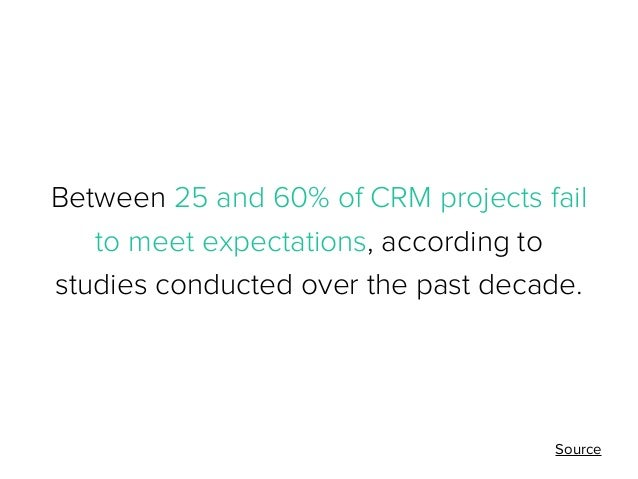Between 25 and 60% of CRM projects fail to meet expectations, according to studies conducted over the past decade.  Source