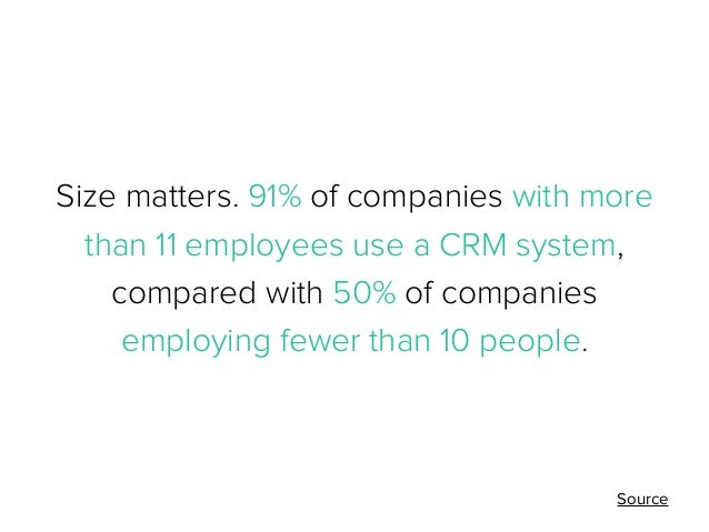 Size matters. 91% of companies with more than 11 employees use a CRM system, compared with 50% of companies employing fewe...