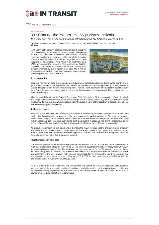 seven communities, one language eurocatalan newsletter  1714 issue #19 - september 2013 FURTHER READING  18th Century - th...