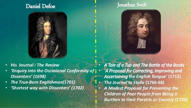 Daniel Defoe  • His Journal : The Review  • 'Enquiry into the Occasional Conformity of  Dissenters' (1698)  • The True-Bor...