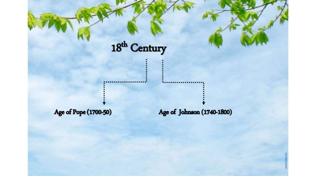 18th Century  Age of Pope (1700-50) Age of Johnson (1740-1800)