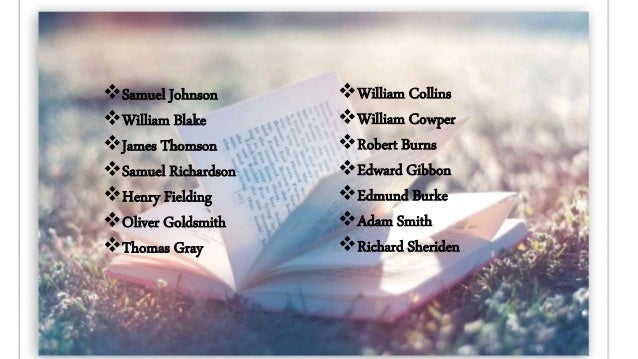 Samuel Johnson  William Blake  James Thomson  Samuel Richardson  Henry Fielding  Oliver Goldsmith  Thomas Gray  Wi...