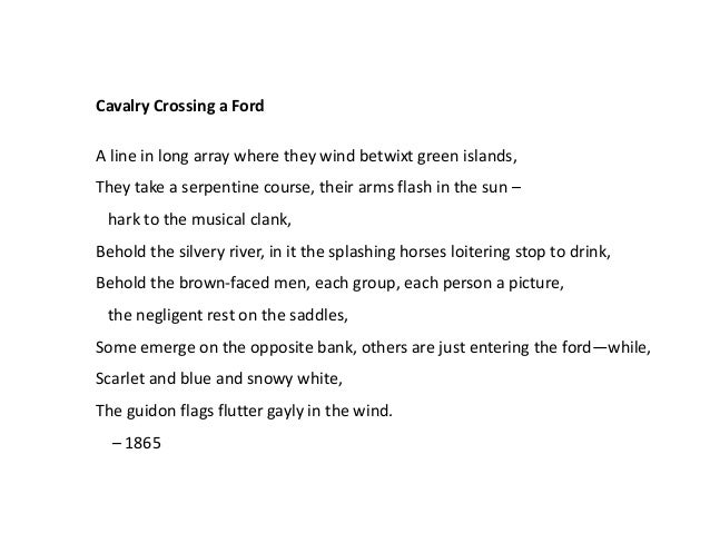 calvary crossing a ford In cavalry crossing a ford colors are a prominent feature: the green islands, the silvery river, the brown-faced men, the scarlet and blue and white of the flags it.