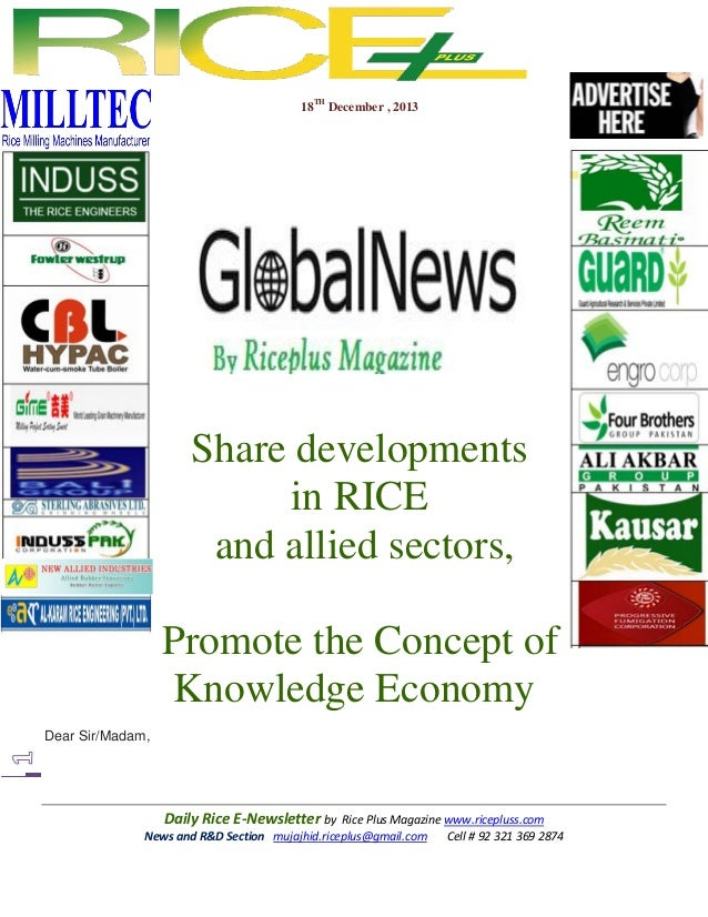 18TH December , 2013  Share developments in RICE and allied sectors, Promote the Concept of Knowledge Economy Dear Sir/Mad...