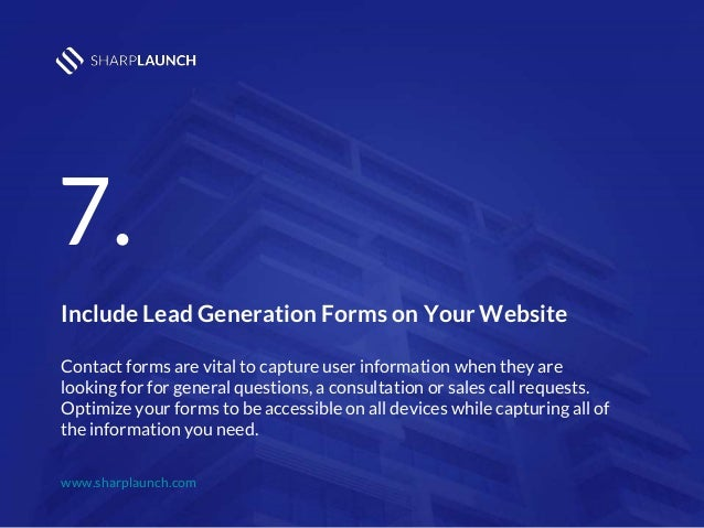 6 Sharplaunch 9 Include Lead Generation Forms