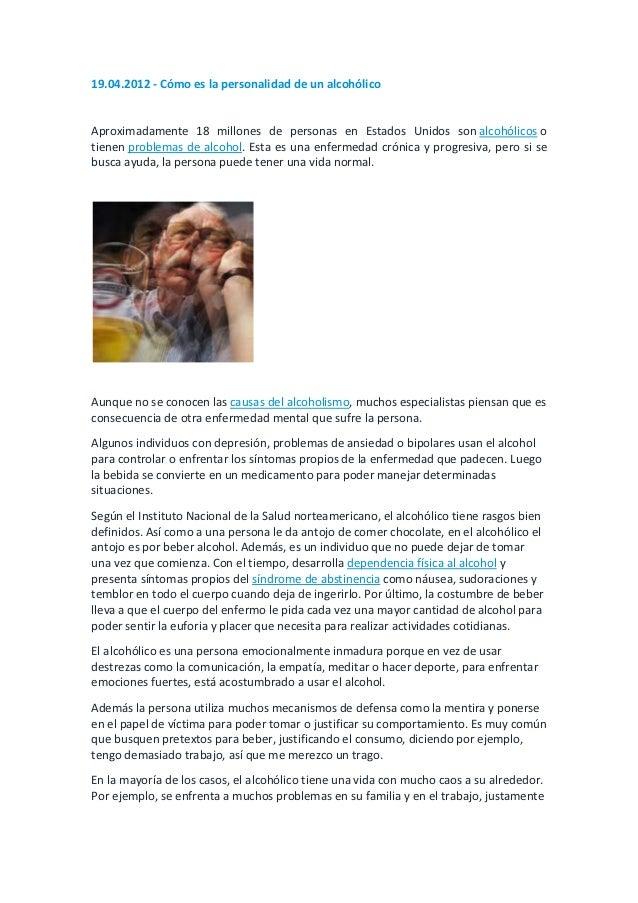 19.04.2012 - Cómo es la personalidad de un alcohólicoAproximadamente 18 millones de personas en Estados Unidos son alcohól...